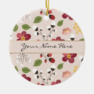 Pale Pink Dog Rose, Rosehips & Mistletoe Ceramic Ornament