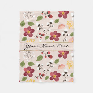 Pale Pink Dog Rose, Rosehips & Mistletoe Fleece Blanket