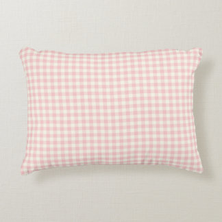 Pale Pink Gingham Pattern Accent Pillow
