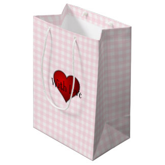 Pale Pink Gingham Red heart With Love Medium Gift Bag