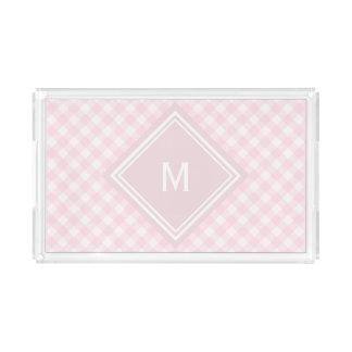 Pale Pink Gingham with Diamond Monogram Acrylic Tray