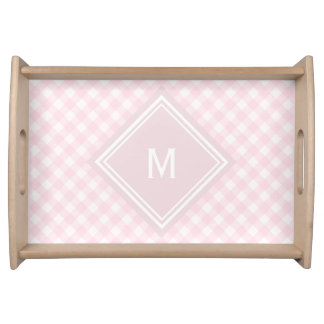 Pale Pink Gingham with Diamond Monogram Serving Tray