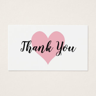 Pale Pink Heart Thank You Business Card
