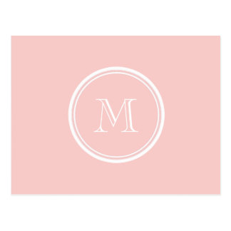 Pale Pink High End Colored Monogram Post Cards