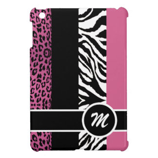 Pale Pink Leopard and Zebra Monogram Animal Print Cover For The iPad Mini