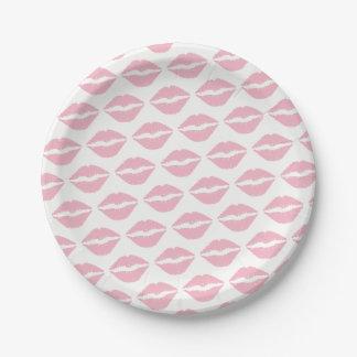 Pale Pink Lipstick Pattern Paper Plate