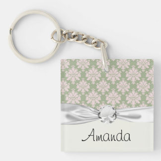 pale pink on sage green ornate damask pattern Double-Sided square acrylic keychain