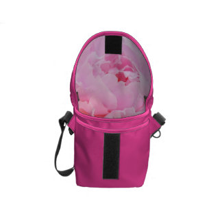 pale pink peony courier bag