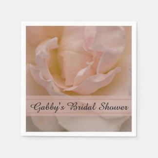 Pale Pink Rose Floral Bridal Shower Disposable Serviette