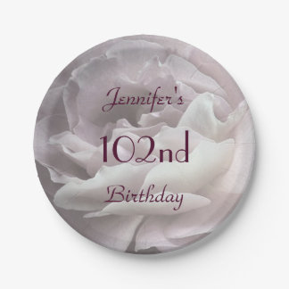 Pale Pink Rose Paper Plates, 102nd Birthday Party Paper Plate
