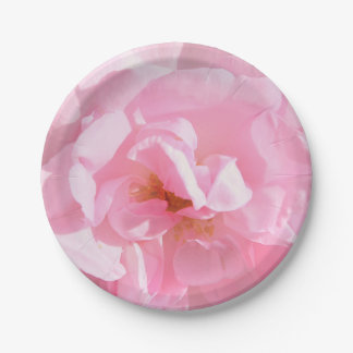 pale pink rose petals paper plate