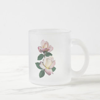 Pale Pink Rosebuds Variety Pristine Frosted Glass Coffee Mug