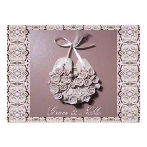 Pale Pink Roses Love Horseshoe Traditional Wedding Announcements