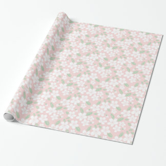 Pale Pink Sakura Japanese Accent Floral Pattern Wrapping Paper