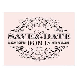 Pale Pink Save the Date | Swirl and Flourish Postcard