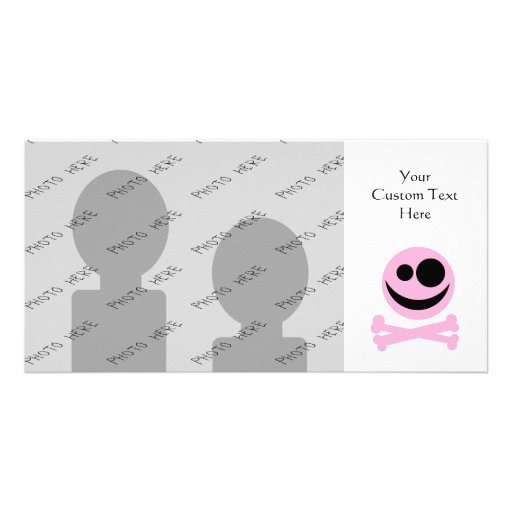 Pale Pink Skull and Crossbones. Pink and Black. Picture Card