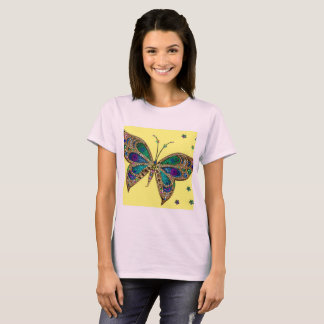 Pale Pink T Shirt With Purple Butterfly