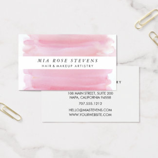 Pale Pink Watercolor & White Stripe Business Card