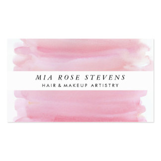 Pale Pink Watercolor & White Stripe Pack Of Standard Business Cards