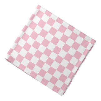 Pale Pink White Checkerboard Pattern Bandana
