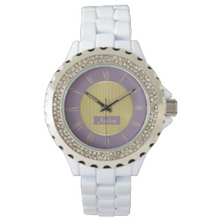 Pale purple and gold wrist watches