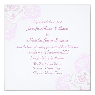 Pale Purple and White Rose Wedding Invitation