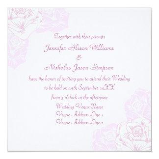 Pale Purple and White Rose Wedding Invitation