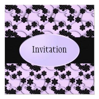 Pale Purple & Black Flowers Pattern All Events 13 Cm X 13 Cm Square Invitation Card