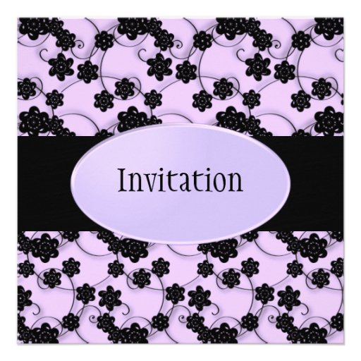 Pale Purple & Black Flowers Pattern All Events Invites