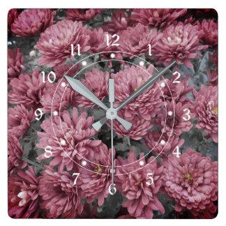 Pale Purple Chrysanthemum Flowers Square Wall Clock