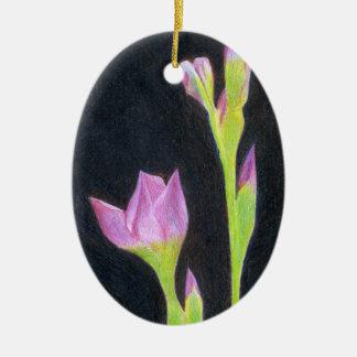 Pale Purple Iris Ceramic Ornament