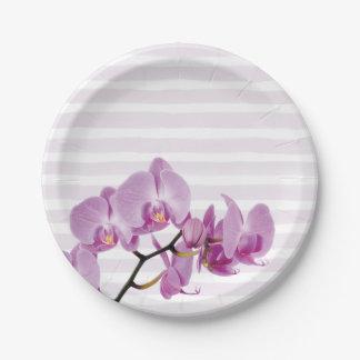 Pale Purple Stripes With Purple Flowers Paper Plate