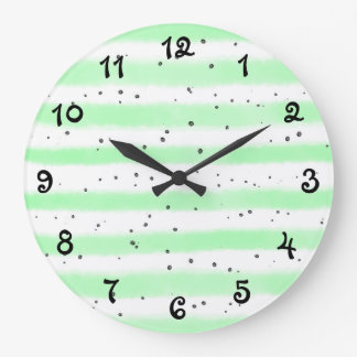 Pale Speckled Striped Large Clock