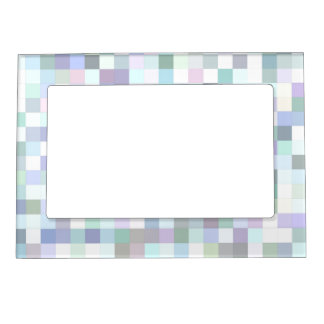 Pale square mosaic magnetic frame