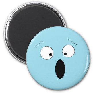 Pale Surprised Shocked Silly Smiley Face Magnet