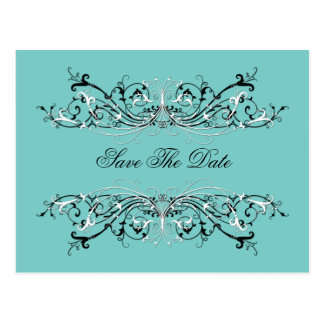 Pale Teal Black White Swirls Save The Date Postcard