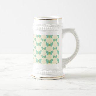 Pale teal green and cream butterflies beer steins
