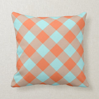 Pale Turquoise Coral Gingham Cushion