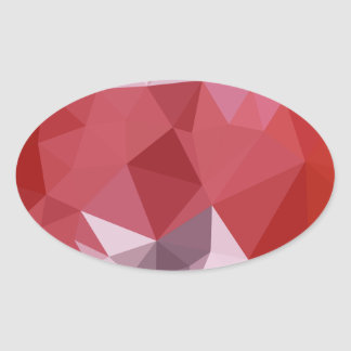 Pale Violet Red Abstract Low Polygon Background Oval Sticker