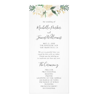 Pale Watercolor Floral Wedding Program Rack Card
