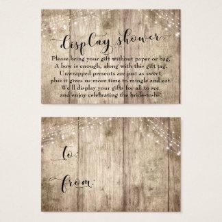 Pale Wood & Lights No Wrap Bridal Shower Card