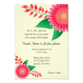Pale Yellow and Pink Floral Wedding Card