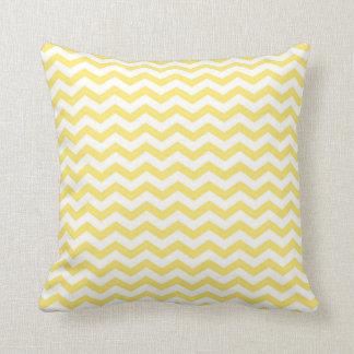 Pale Yellow and White Chevron Pattern Cushion
