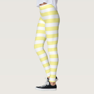 Pale Yellow and White Stripes Leggings