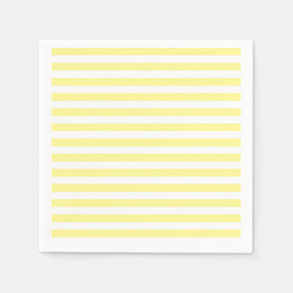 Pale Yellow and White Stripes Paper Napkin