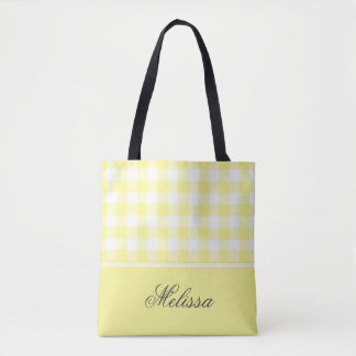 Pale Yellow Gingham | Personalized Tote Bag