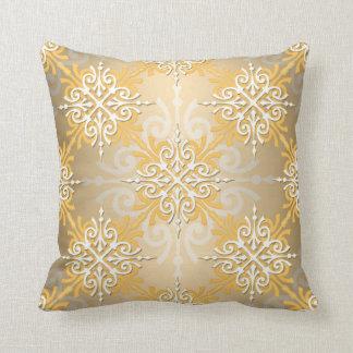 Pale Yellow Gold Damask Pattern Cushion