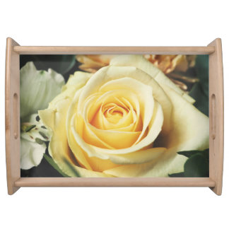 Pale Yellow Gold Rose Serving Tray