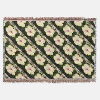 Pale Yellow Hibiscus Flower - Front View Throw Blanket