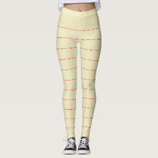 Pale yellow leggings with Red Horizontal Stripes